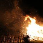 Burning hay bale in Chavignol